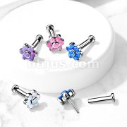 Implant Grade Titanium Threadless Push in Labret, Flat Back Studs with Opal Set Flower Top for Cartilage, Monroe, Chi and More