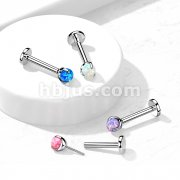 Implant Grade Titanium Threadless Push-In Labret, Flat Back Studs with Claw Set Opal Top for Cartilage, Monroe, Nose and More