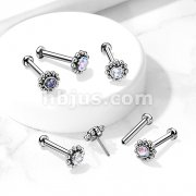 Implant Grade Titanium Threadless Push-In Labret, Flat Back Flower Stud with Center CZ and Surrounding Ball Cluster