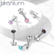 Implant Grade Titanium Threadless Push in Flower Base Labret, Flat Back Studs with CZ Prong Set Top for Cartilage, Monroe, Nose and More