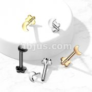 Implant Grade Titanium Threadless Push in Flower Base Labret, Flat Back Studs with Crescent Moon Top for Cartilage, Monroe and More