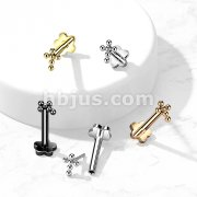Implant Grade Titanium Threadless Push In Flower BaseLabret, Flat Back Stud with Ball Cross Top for Cartilage, Lip, Nose, and More