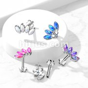 Implant Grade Titanium Threadless Push in Flower Base Labret, Flat Back Studs with 4-Marquise Opal set PeatalTop for Cartilage, Monroe and More