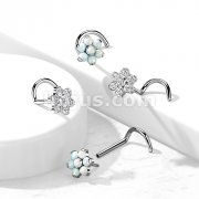 Implant Grade Titanium Threadless Push in Nose Screw Rings with CZ or Opal Set Flower Top