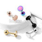 Flat Circle Top 316L Surgical Steel Cartilage, Tragus Barbell Studs