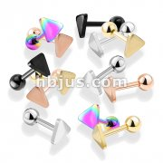 100 Pcs Flat Triangle Top PVD over 316L Surgical Steel Cartilage, Tragus Barbell Studs Bulk Pack (20 Pcs x 5 Colors)