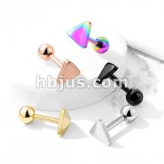 Flat Triangle Top 316L Surgical Steel Cartilage, Tragus Barbell Studs