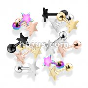 100 Pcs Flat Star Top PVD over 316L Surgical Steel Cartilage, Tragus Barbell Studs Bulk Pack (20 Pcs x 5 Colors)