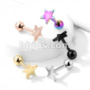Flat Star Top 316L Surgical Steel Cartilage, Tragus Barbell Studs