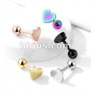 Flat Heart Top 316L Surgical Steel Cartilage, Tragus Barbell Studs