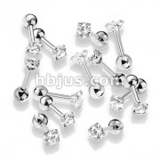 100 Pcs Prong Set Clear Round CZ 316L Surgical Steel Cartilage, Tragus Barbell Studs Bulk Pack