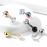 Prong Set Round CZ 316L Surgical Steel Cartilage, Tragus Barbell Studs