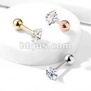 Prong Set Square CZ 316L Surgical Steel Cartilage, Tragus Barbell Studs