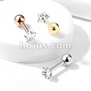 Prong Set Star CZ 316L Surgical Steel Cartilage, Tragus Barbell Studs