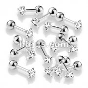 100 Pcs Prong Set Clear Triangle CZ 316L Surgical Steel Cartilage, Tragus Barbell Studs Bulk Pack