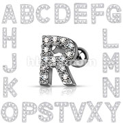 CZ Paved Initial top 316L Surgical Steel Cartialge Tragus Bar