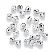 100 Pcs Prong Set Clear Heart  CZ 316L Surgical Steel Cartilage, Tragus Barbell Studs Bulk Pack