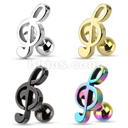 Assorted Treble Clef Music Note Tragus/Cartilage Piercing Stud 316L Surgical Steel Dozen Pack