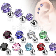 316L Surgical Steel Pronged Round CZ Tragus/Cartilage Piercing Stud