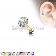 316L Surgical Steel Pronged 4mm Heart CZ Tragus/Cartilage Piercing Stud