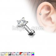 316L Surgical Steel Pronged 4mm Star CZ Tragus/Cartilage Piercing Stud