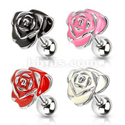 316L Surgical Steel Epoxy Rose Tragus/Cartilage Barbell