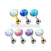 42 Pcs Opal Bezel Set Flat Top 316L Surgical Steel Cartilage Barbell Studs Bulk Pack (6 Pcs x 7 Colors)