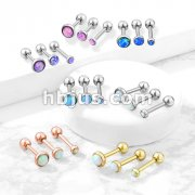 Opal Set Flat Top 316L Surgical Steel Cartilage/Tragus Barbell