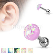 Opal Glitter Dome Top 316L Surgical Steel Catilage/Tragus barbells