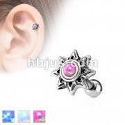 Opal Set Tribal Sun 316L Surgical Steel Cartilage/Tragus Barbell