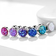 Druzy Stone Flat Set Top 316L Surgical Steel Ear Cartilage Barbell Stud Rings