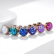 Druzy Stone Flat Set Top Rose Gold PVD Over 316L Surgical Steel Ear Cartilage Barbell Stud Rings