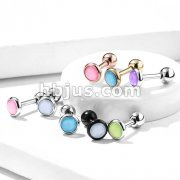 Illuminating Stone Flat Set 316L Surgical Steel Barbell Studs for Cartilage, Tragus and More.