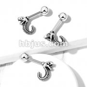 Hissing Snake 316L Surgical Steel Cartilage, Tragus Barbell Studs