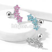 Triple 5 Crystals Flower Cluster 316L Surgical Steel Barbell Studs for Cartilage, Tragus, and More
