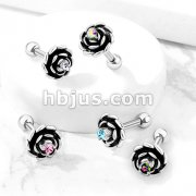 Antique Silver Plated Flower with Prong Set CZ Center 316L Surgical Steel Cartilage, Tragus Barbell Studs