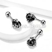Dragon Claw Holding Black Ball 316L Surgical Steel Cartilage, Tragus Barbell Studs