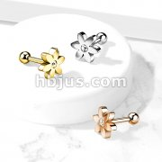 Flower with CZ Solitaire 316L Surgical Steel Cartilage, Tragus Barbell Studs