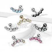 5-Round Gem Set Curve Top 316L Surgical Steel Cartilage Barbell Studs