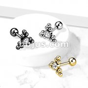 Clear Gem Set Center Ball Cluster Triangle Top 316L Surgical Steel Cartilage Barbell Studs
