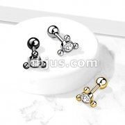Clear Gem Set Center with 3-Ball Triangle Top 316L Surgical Steel Cartilage Barbell Studs