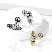 Clear Gem Set Center with Ball Triangle Sides Top 316L Surgical Steel Cartilage Barbell Studs