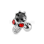 Red Eyed Skull with Hand Holding Black Gem 316L Surgical Steel Cartilage/Tragus Barbell