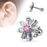 Princess Cut CZ Petal Flower with Pink Cz Center 316L Surgical Steel Cartilage/Tragus barbell