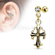 Celtic Cross Dangle on Jeweled Ball 316L Surgical Steel Cartilage/Tragus Bar