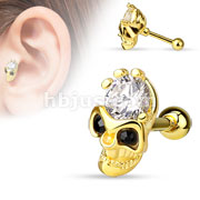 Skull with CZ Forehead and Black CZ Eyes 316L Surgical Steel Cartilage/Tragus Bar