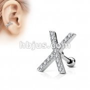 Micro CZ Paved X Top 316L Surgical Steel Cartilage, Tragus Barbell Studs