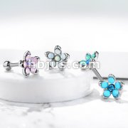 Opalite Flower with Opal Center Top 316L Surgical Steel Cartilage, Tragus Barbell Studs