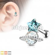 Aqua Star and Clear Stone Set Saturn 316L Surgical Steel Cartilage, Tragus Barbell Studs