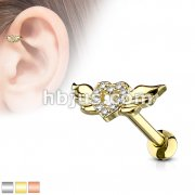 CZ Paved Heart with Wings 316L Surgical Steel Cartilage, Tragus Barbell Studs